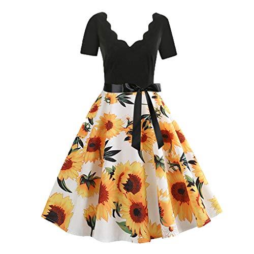 Hosamtel Women Vintage Dress Sleeveless Short Sleeve V-Neck Floral Polka Dot Print Flare Casual Evening Party Prom Dress (Uniform Sleeveless Baseball)