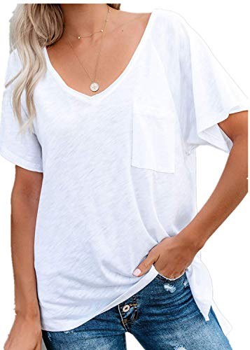 2019 Women's Summer Top Solid Color V-Neck Short Sleeve T-Shirt (L, White) ()