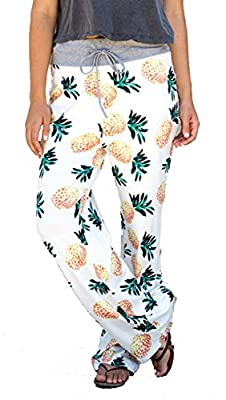 Women High Waist Casual Pants Pineapple Pattern Print Drawstring Wide-Leg Pants