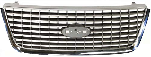 Grille Assembly Compatible with 2003-2006 Ford Expedition Chrome Shell/Painted Gray Insert Factory Installed NBX/XLS/XLT Models