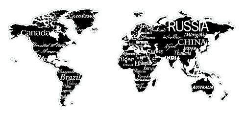 World Map With Countries Black Wall Saying Vinyl Lettering Home - World map black and white