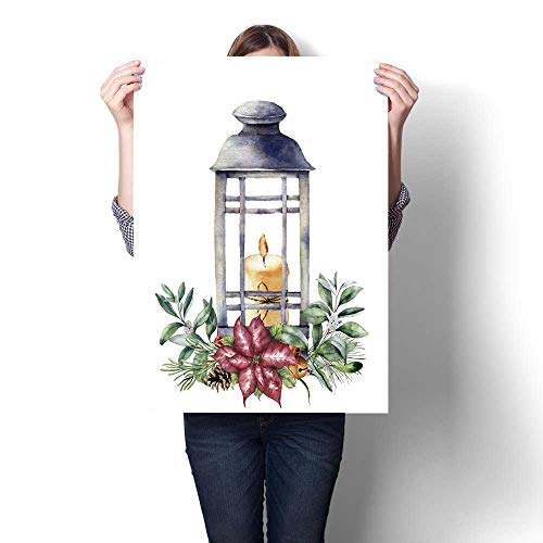 Art-Canvas Prints Watercolor Christmas lantern with candle and holiday decor Hand painted traditional lantern with christmas plant isolated on white background For design or print Customizable Wall S