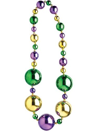 [Forum Mardi Gras Parade 42-inch Bead Necklace Graduated Ornament Beads, Multi-Colored, One Size] (Jumbo Mardi Gras Beads)