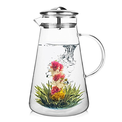 Teabloom ANDES Hot & Iced Tea Glass Pitcher with Stainless Steel Infuser & Lid (50 oz / 1500 ml) - Great for Fruit Infusions - Easy to Use & Clean - Dishwasher Safe (Steel Lid With Infuser Stainless)