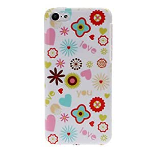 Cartoon Love Flowers Pattern Plastic Hard Case for iPhone 5C