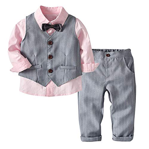 Baby Boys Formal Gentleman Shirt+Vest+Bow Tie+Stripe Trousers Outfits Set Clothes (24M, Pink) ()