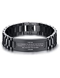 Stainless Steel to My Son Love Mom Courage Inpsirational Wristband Bracelets, Birthday Gifts to Son to Son,Son Bracelet from Mom and Dad,Love Son Gift