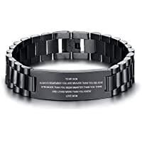 MEALGUET Stainless Steel to My Son Love Mom Courage Inpsirational Wristband Bracelets, Birthday Gifts to Son