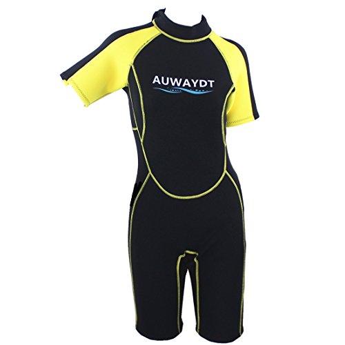 AUDAYDT Women's 2.5mm Premium Ultraflexible Neopren Flatlock Sewing Shorty wetsuits,Yellow,X Large (Shorty Wetsuit Yellow)