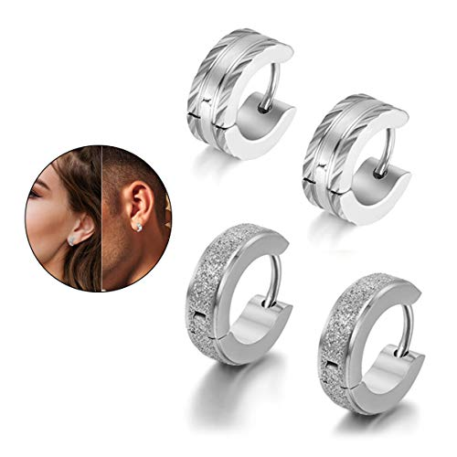 (Flongo Men's Classic Stainless Steel Matte Hoop Huggie Stud Earrings, Polished Finish Edge Hoop Huggy Earrings for Men Women, Christmas Valentine Gift Hinged Hoop Earrings)