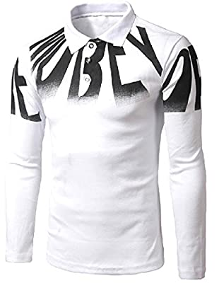 SexyBaby Men Long-Sleeve Stylish Slim Fit Letter Printed T-Shirt Top
