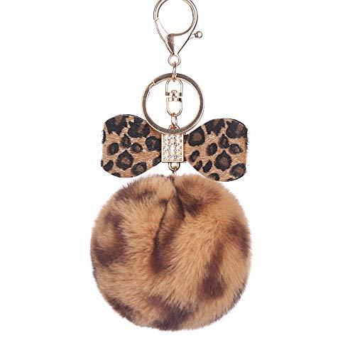 Clearance Sale!UMFunFashion Leopard Hair Ball Keychain Bag Car Pendant Leopard Print Bow (Coffee)