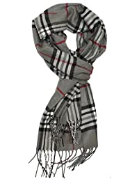 SethRoberts-Classic Cashmere Feel Men's Winter Scarf in Rich Plaids (Grays)