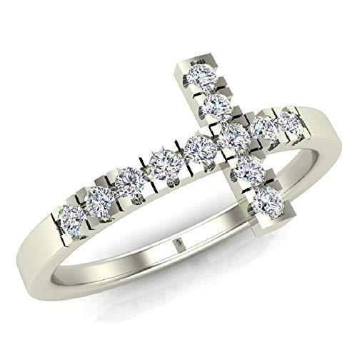 0.24 ct tw Sideways Cross Diamond Ring 14K White Gold (Ring Size 6) ()