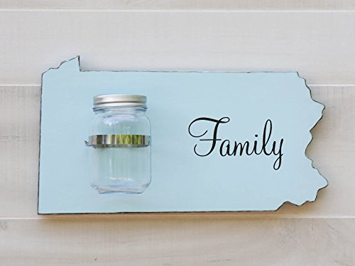 Pennsylvania State Map Shape Mason Jar Wall Vase or Sconce. Additional States O-W available. 20 Paint Colors. Solid ¾