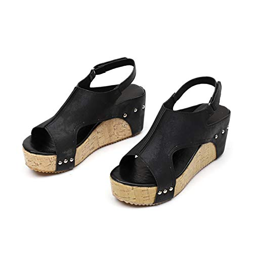 TRFLH& Casual Wedges Shoes Fashion High Heels Fish Mouth Sandals Women's Shoes PU Platform Rivet Beach Sandals Zapatos Mujer#5M Black Shoes 8]()