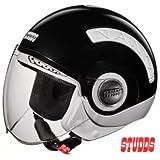 Studds Nano Half Helmet (Black and White, S)