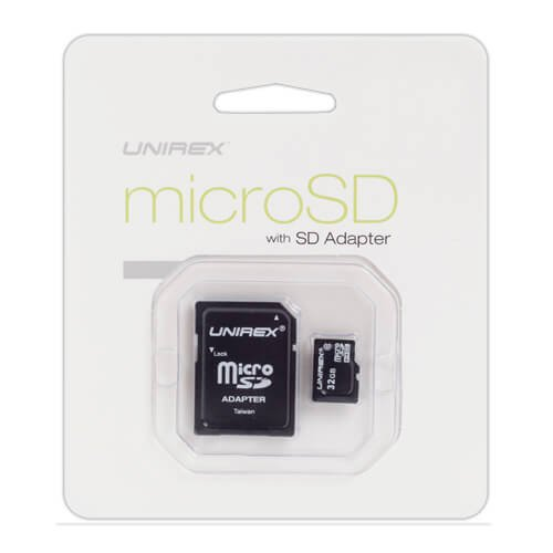 Unirex MSU-325 32GB Micro SD Card with USB Reader and SD Ada