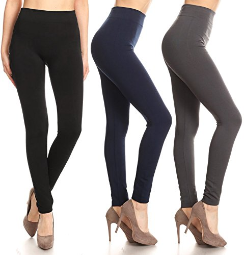 Discount Leggings Mania Women's Multipack Solid Fleece Lined High Waist Band Leggings - Regular or Plus Size