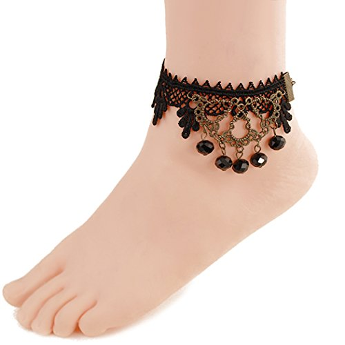[Time Pawnshop Personality Black Lace Sexy Anklet (Black)] (Rockin The Boat Costumes)