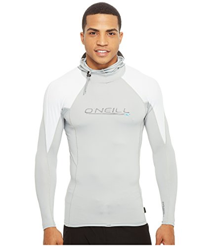 O'Neill  Men's Premium Skins O'zone UPF 50+ Long Sleeve Sun Shirt With Hood, Cool Grey/White,Large