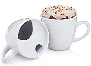 Donut Warming Coffee Mug (Aka The Best Morning Ever Mug) - Cool Mugs With Heat Transferring Top to Warm Your Pastries (Set of 2 Mugs)