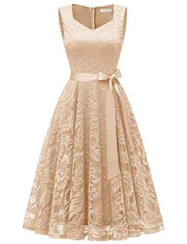 Gardenwed Floral Lace Homecoming Dress Elegant Formal Bridesmaid Dresses Sleeveless V Neck Cocktail Dresses for Women Champagne XL