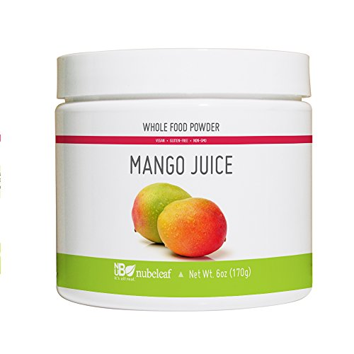 Nubeleaf Mango Juice Powder - Non-GMO, Gluten-Free, Raw, Vegan Source of Fiber & Vitamins A, C, B6 - Single-Ingredient Nutrient Rich Superfood for Cooking, Baking, Smoothies (6oz)
