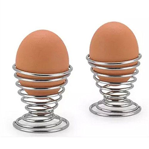super1798 2Pcs Metal Spiral Spring Wire Tray Egg Cup Storage Holder Stand Kitchen Tool Silver by super1798 (Image #3)