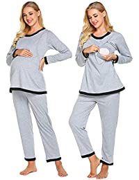 Women's Maternity Nursing Pajama Set, Breastfeeding PJ...