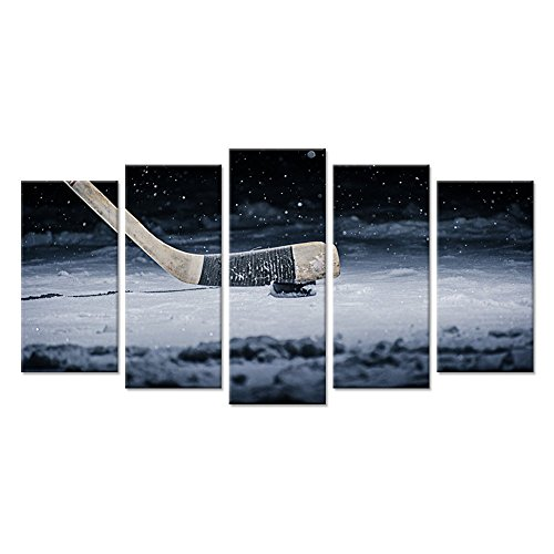 Print Contemporary Vintage - Hello Artwork Canvas Wall Art Large 5 Panel Hockey Stick and Puck Sliding Across The Ice Close Up Slapshot Player Love Picture Print On Canvas Contemporary Art Stretched And Framed For Home Decor