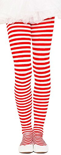 MUSICLEGS Girls Red and White Striped Tights (L) -