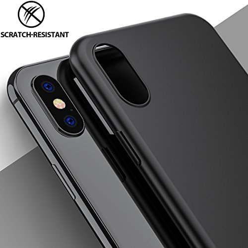 iPhone X Case, Amuoc Slim Fit Shell Hard Ultra Thin Mobile Phone Cover Case with Non Slip Matte Surface for Apple iPhone X (IBLACK)