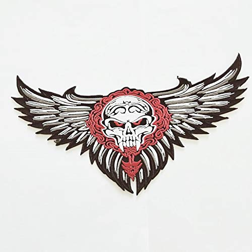 - Embroidered Biker Wings Skull Chopper Devil Skeleton Patches Personalized Embroidery Rocker Patch Rider Motorcycle Patches Back Name Patch Reflective Appliqued/Iron-on/Sew Your Jacket Jeans