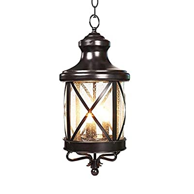 Pumpink Barn 1 Light LED Outdoor Pendant Light Fixture European-Style Simplicity Black Metal Hanging Lamp Creative Patio Balcony Living Room Glass Ceiling Light for Porch