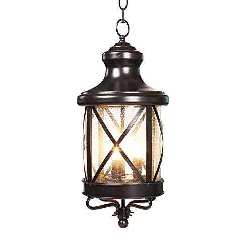 Pumpink Barn 1 Light LED Outdoor Pendant Light Fixture European-Style Simplicity Black Metal Hanging Lamp Creative Patio Balcony Living Room Glass Ceiling Light for Porch (Size : H-45.7cm)