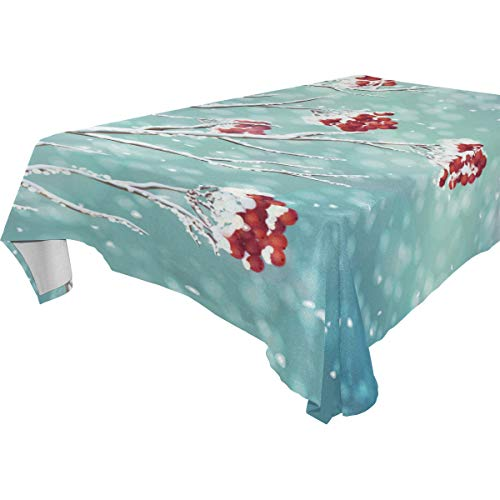 LORVIES Rectangle Winter Berry Branch Tablecloth for Wedding Party Holidays Washable Polyester Table Cloth Cover, 54 x 54 Inch