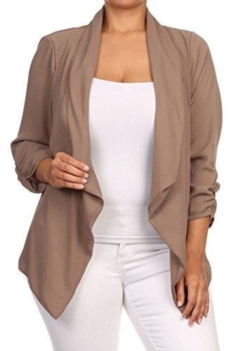 2LUV Plus Women's Open Front Gathered Sleeve Plus Size Blazer – X-Large, Mocha