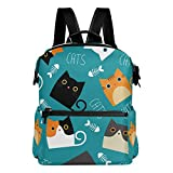 Laptop Backpack, Cat Large Cute School Bag Lightweight Waterproof Leather Travel Hiking Shoulder BookBag Durable Computer Bag Casual Daypack for Women Men