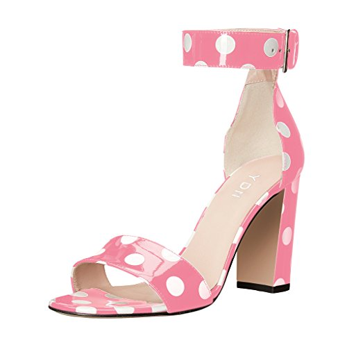 Polka Dot Ankle Strap (YDN Women Chunky High Heel Sandals Polka Dot With Ankle Strap Dressing Prom Shoes Pink 8.5)
