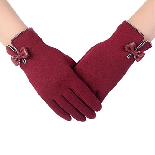 Clearance!Women Gloves,Haoricu Fashion Autumn Winter Bow-knot Ladies Outdoor Sport Warm Gloves (Red)