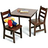 Lipper International 514WN Child's Square Table and 2 Chairs, Walnut Finish