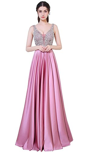 ffdeb3884ea Honeydress Women s Rhinestone Deep V-Neck Open Back Long Evening Dress Prom  Gown