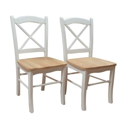 Target Marketing Systems Set of 2 Tiffany Dining Chairs with Cross Back, Set of 2, White/Natural