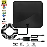 TV Antenna, Tmily Indoor HDTV Antenna up to 60 Miles Range with Detachable Amplifer Signal Booster, Super Thin & Fireproof for Home Safety, USB Power Supply Coax Cable, Black