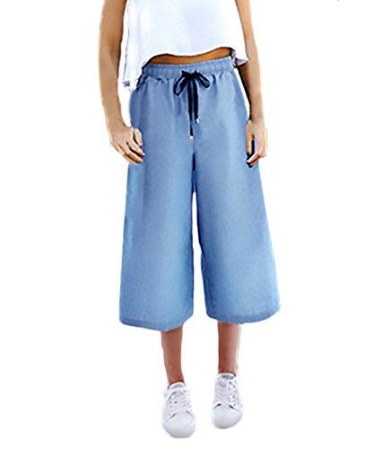 Mujer De Elegantes Azul Vaqueros Pantalones Verano Casual Pantalones Cintura Ancho Pantalones Ropa Talla Color Denim Grande Claro Pantalon Solido Alta RI5xwqP