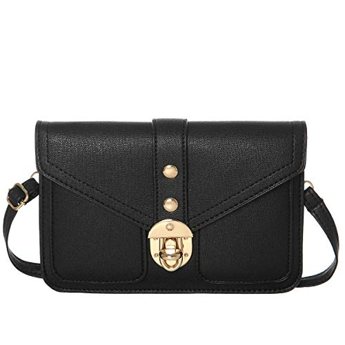 Small Synthetic Leather Crossbody Shoulder Bags Cell Phone Purse Wallet for Women(Black)