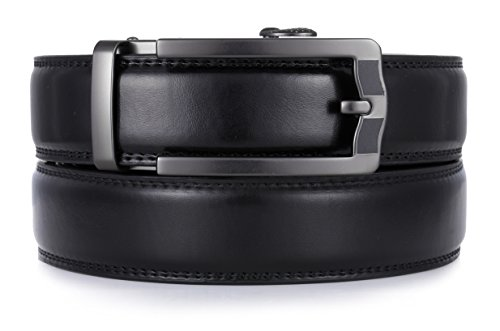 Mio Marino Ratchet Click Belts for Men - Mens Comfort Genuine Leather Dress Belt - Automatic Buckle - Style 185 - Black - Adjustable from 28