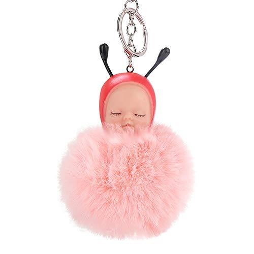 Baby Bee Charms (Cute Panda Faux Rabbit Fur Keychain Pompom Handbag Tote Bag Large 1512cm Plush Charm Pendant Key Ring (Pink Bee Baby 16X8cm))