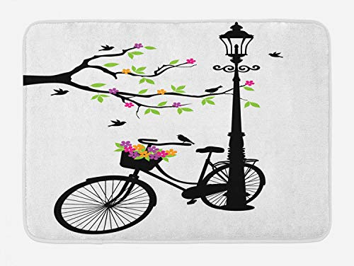 Ambesonne Nature Bath Mat, Spring Tree Birds Bike Basket with Colorful Flowers Blossom European City Theme, Plush Bathroom Decor Mat with Non Slip Backing, 29.5 W X 17.5 L Inches, Multicolor